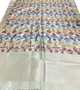 Off White Banarasi Kim Khwab Silk Dupatta - Luxurionworld