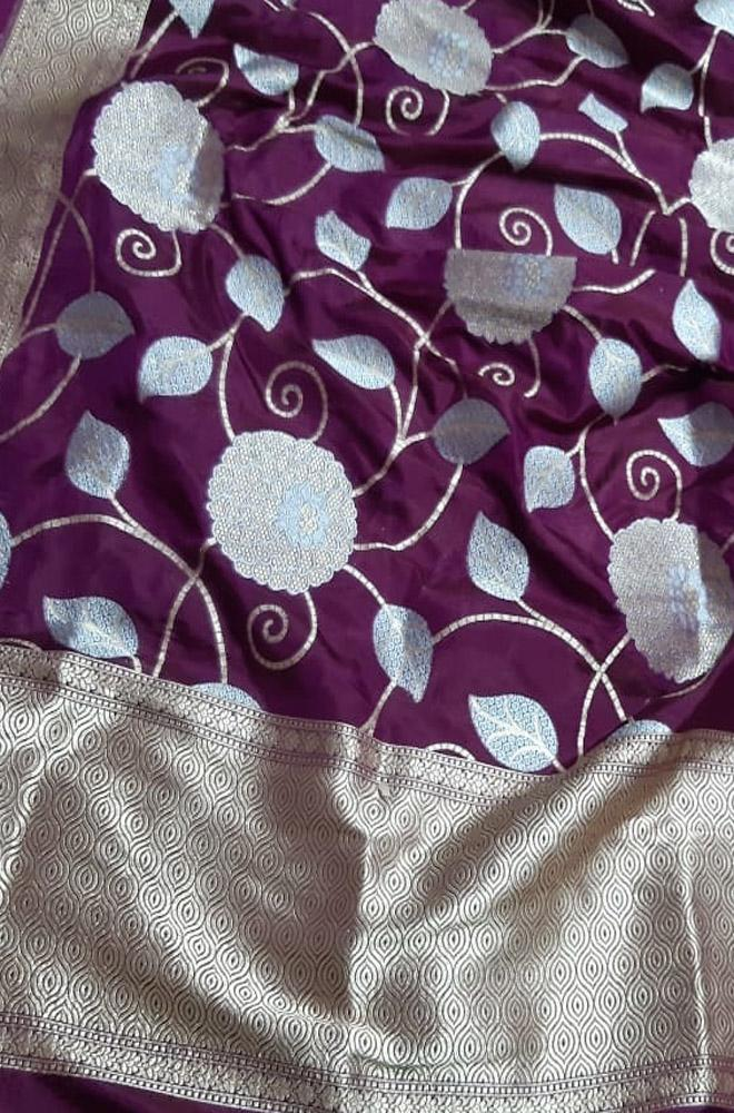 Purple Handloom Banarasi Pure Katan Silk Flower Design Sona Roopa Jaal Work Dupatta