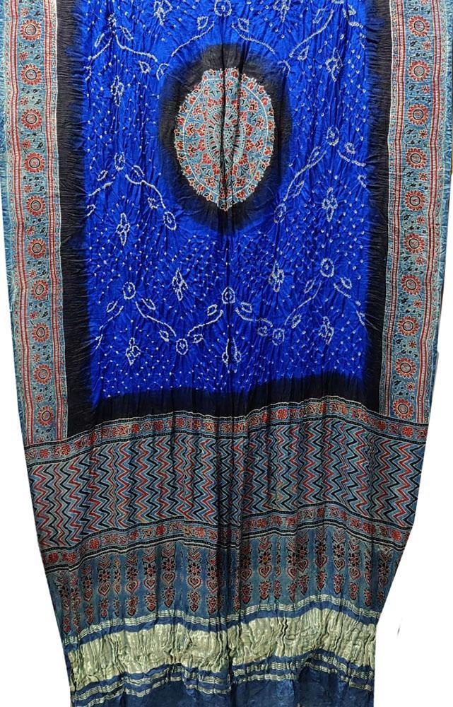 Blue Bandhani Gajji Silk Dupatta With Ajrakh Print - Luxurionworld