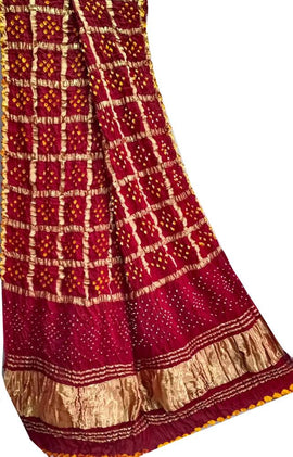 Red Checks Bandhani Modal Silk Dupatta