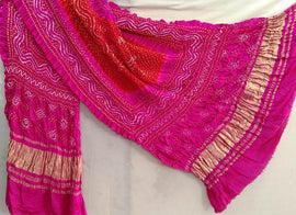 Pink and Red Bandhani Pure Gajji Silk Dupatta