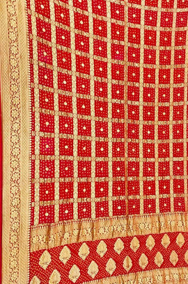 Red Checks Banarasi Bandhani Pure Georgette Dupatta