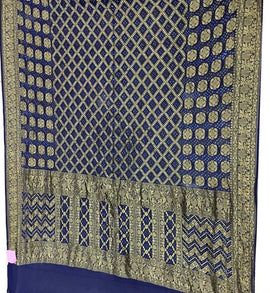 Blue Banarasi Bandhani Pure Georgette Dupatta - Luxurionworld