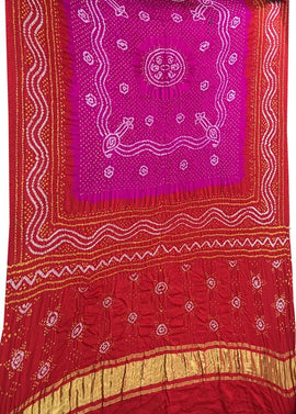 Red and Pink Bandhani Pure Gajji Silk Dupatta