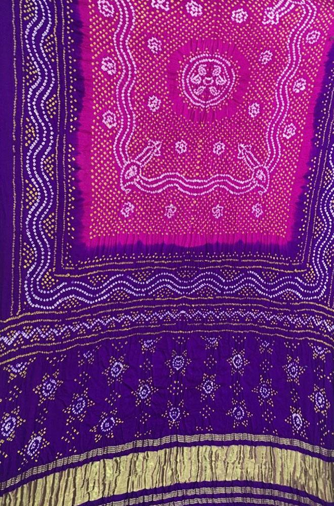 Purple and Pink Bandhani Pure Gajji Silk Dupatta
