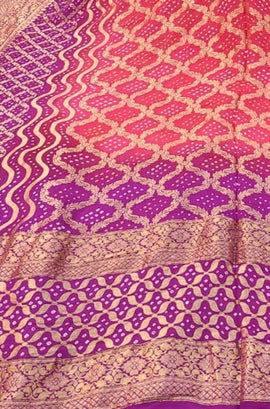 Purple and Pink Banarasi Bandhani Chiffon Georgette Dupatta
