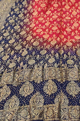 Blue and Red Banarasi Bandhani Chiffon Georgette Dupatta