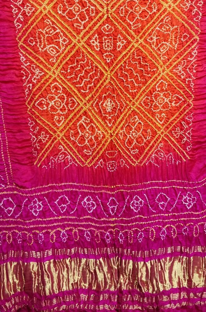 Orange And Pink Bandhani Gajji Silk Dupatta - Luxurionworld