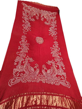 Red Mor Bandhej Modal Silk Dupatta - Luxurionworld