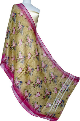Yellow Bhagalpur Digital Printed Linen Flower Design Dupatta - Luxurionworld