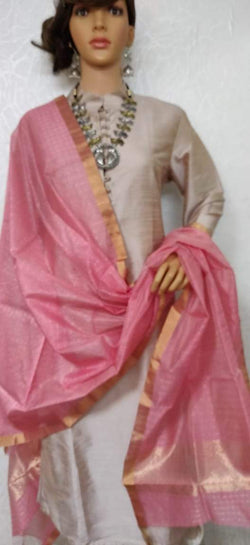 Pink Handloom Chanderi Silk Dupatta - Luxurionworld