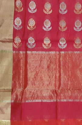 Red Handloom Chanderi Pure Silk Sona Roopa Dupatta - Luxurionworld