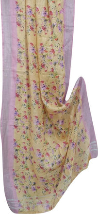Yellow Digital Printed Linen Dupatta With Flower Design - Luxurionworld
