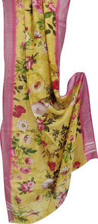 Yellow Digital Printed Linen Dupatta With Floral Design