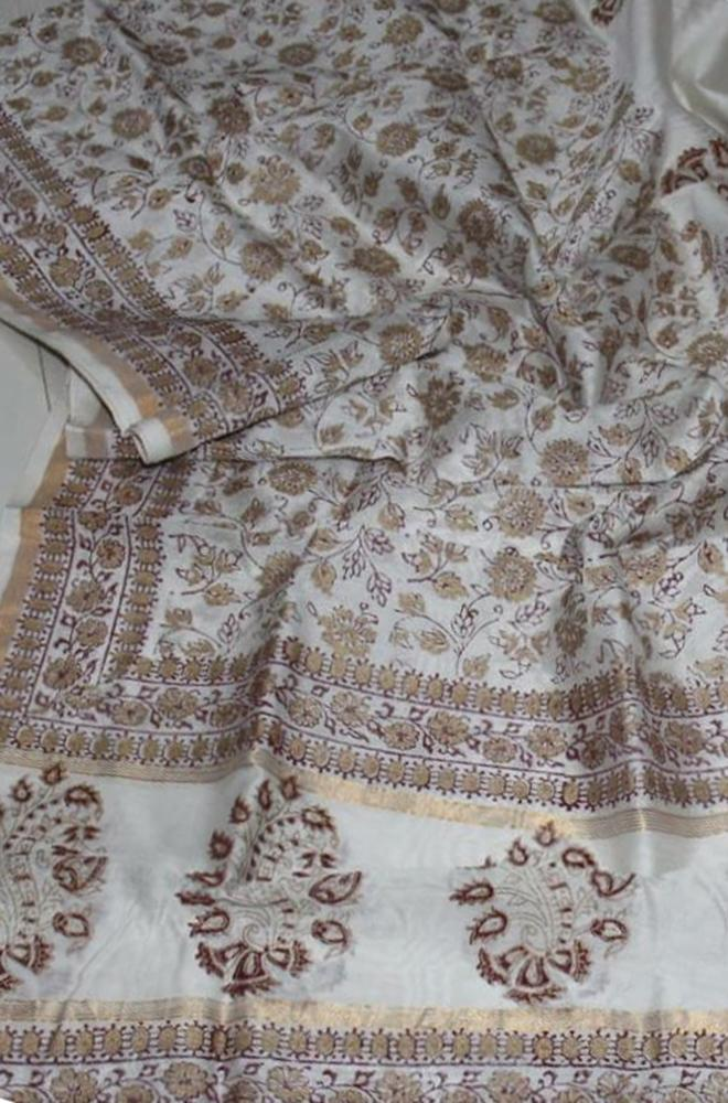 Off White Hand Block Printed Chanderi Silk Dupatta
