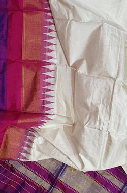 Off White Handloom Single Ikat Pochampalli Pure SilkDupatta With Temple Design Border - Luxurionworld