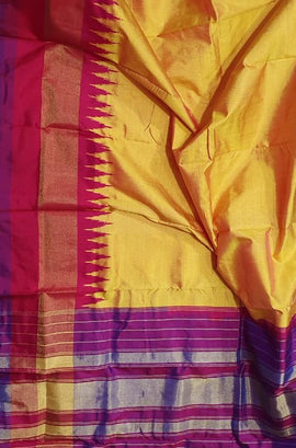Yellow Handloom Single Ikat Pochampalli Pure Silk Dupatta With Temple Design Ganga Jamuna Border - Luxurionworld