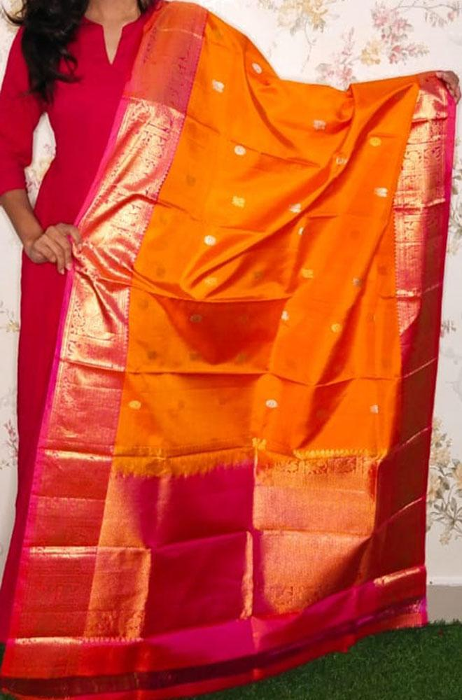 Orange Handloom Kanjeevaram Pure Silk Dupatta