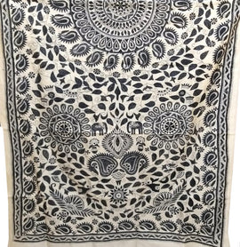 Black & White Hand Embroidered Kantha Tussar Silk Dupatta