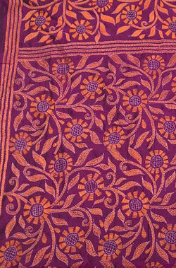 Purple Hand Embroidered Kantha Tussar Silk Dupatta
