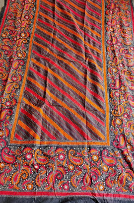 Multicolor Hand Embroidered Kantha Pure Bangalore Silk Dupatta