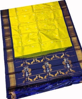 Yellow Handloom Paithani Pure Silk Dupatta