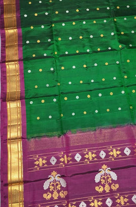 Green Handloom Paithani Pure Silk Dupatta - Luxurionworld
