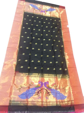 Black Handloom Paithani Pure Silk Dupatta - Luxurionworld