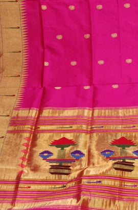 Pink_Handloom_Paithani_Pure_Silk_Dupatta_With_Muniya_Border