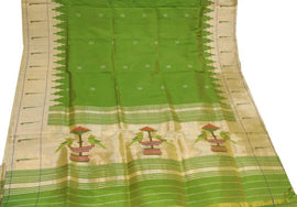 Green Handloom Paithani Pure Silk Dupatta With Muniya Border - Luxurionworld