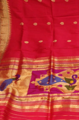 Red_Handloom_Paithani_Pure_Silk_Dupatta_With_Muniya_Border