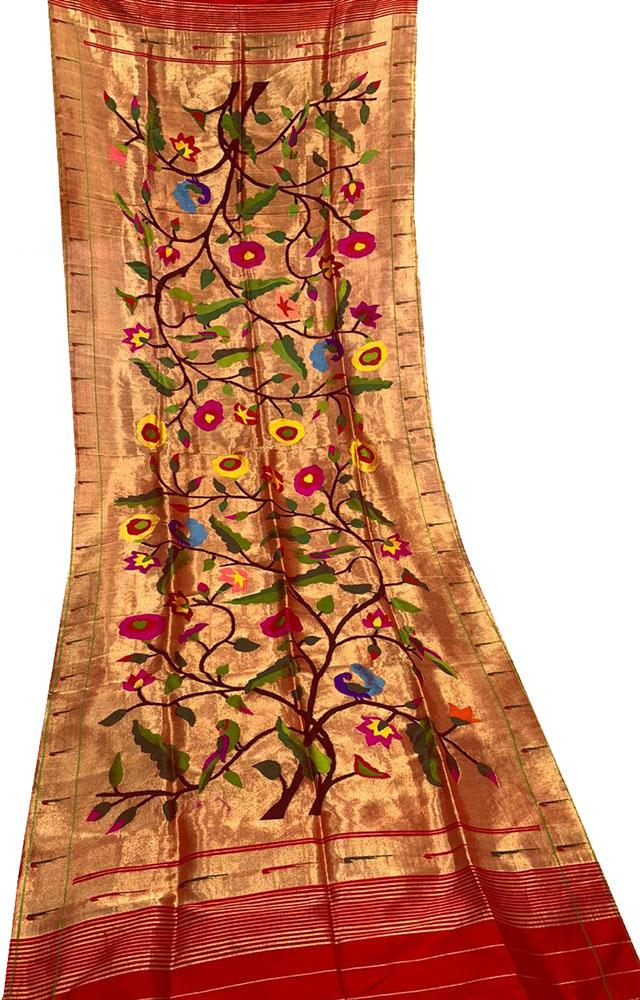 Golden Handloom Paithani Pure Silk Brocade Dupatta