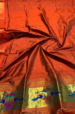 Orange Handloom Paithani Pure Silk Dupatta - Luxurionworld
