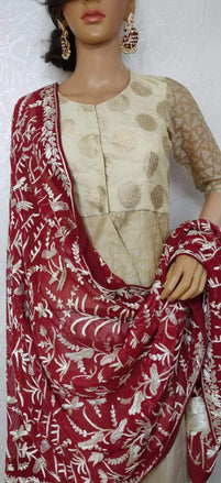 Red Hand Embroidered Parsi Gara Pure Georgette Thread Work Dupatta