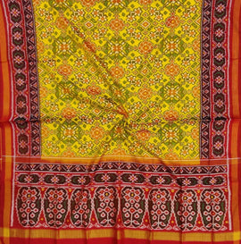 Yellow  Handloom Semi Patan Patola Pure Silk Dupatta - Luxurionworld