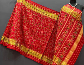 Red Handloom Semi Patan Patola Pure Silk Dupatta