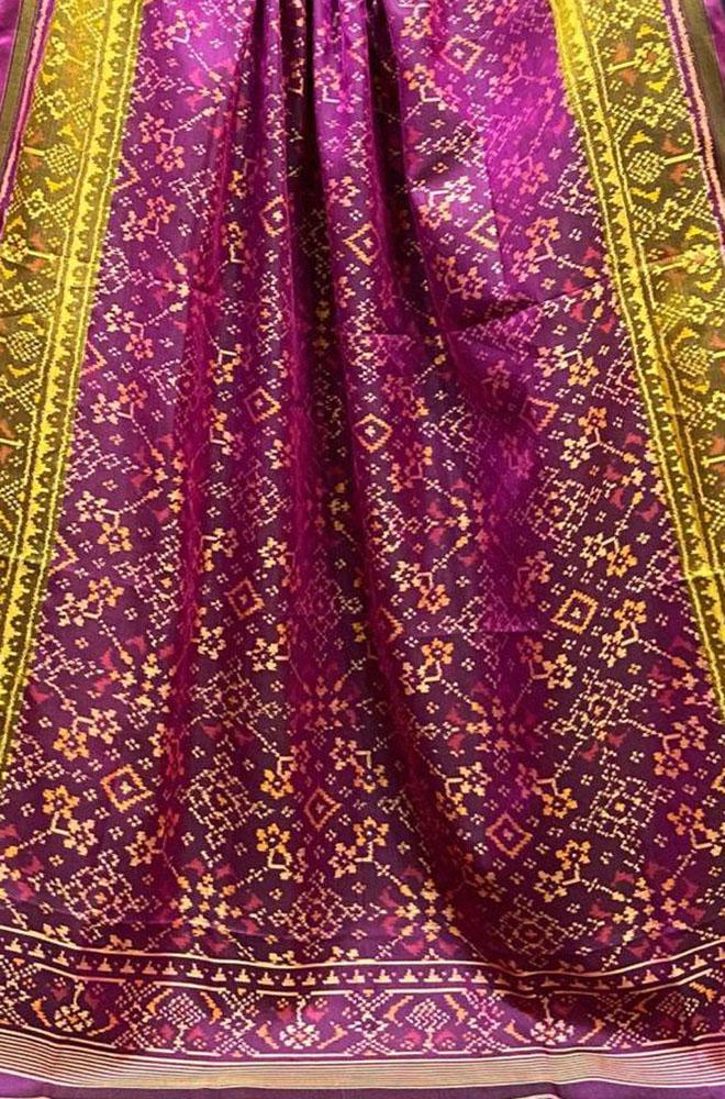 Purple Handloom Patola Pure Silk Dupatta - Luxurionworld