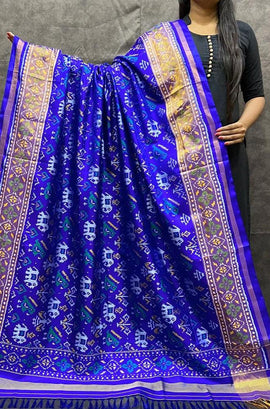 Blue Handloom Patola Pure Silk Dupatta - Luxurionworld