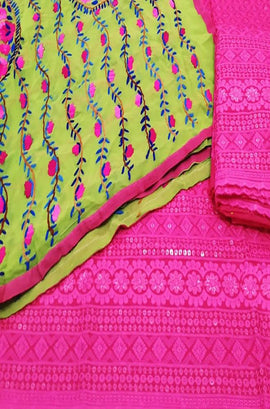 Pink Embroidered Phulkari Cotton Suit With Yellow Georgette Dupatta - Luxurionworld