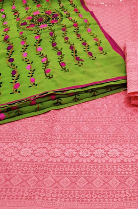 Pink Embroidered Phulkari Cotton Suit With Green Georgette Dupatta - Luxurionworld
