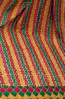 Multicolor Hand Embroidered Phulkari Cotton Dupatta