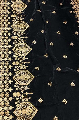 Black Trendy Velvet Dupatta - Luxurionworld