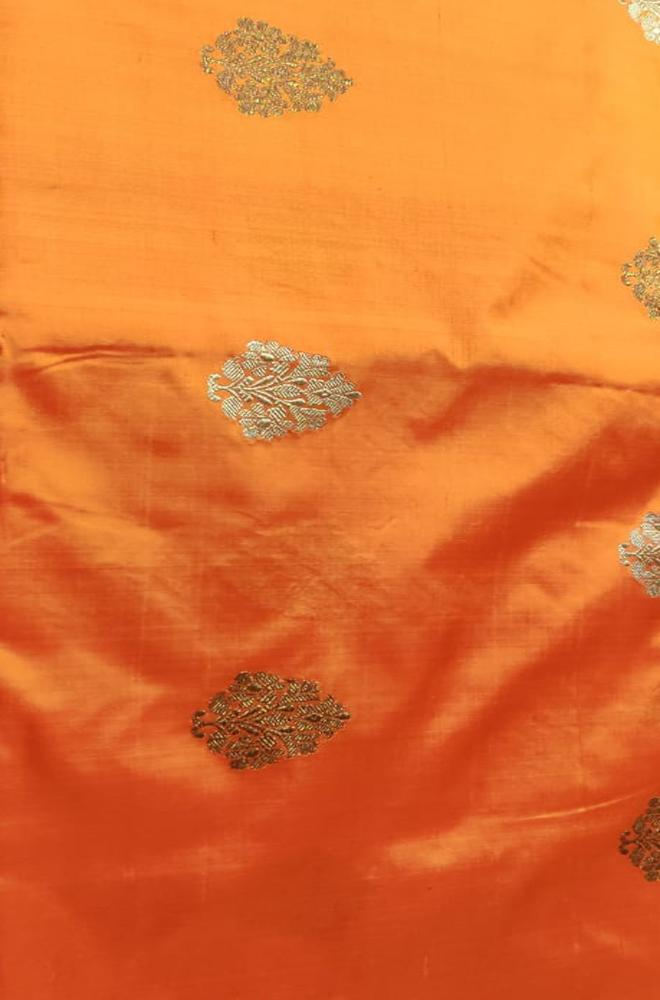 Orange Handloom Banarasi Pure Silk Leaf Design Fabric ( 2.5 mtr) - Luxurionworld