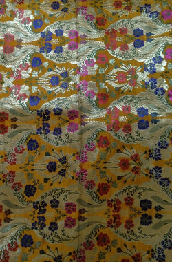 Yellow Banarasi Kimkhwab Silk Fabric (2.5 mtrs) - Luxurionworld