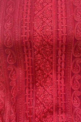 Red Embroidered Chikankari Georgette Fabric ( 1 Mtr )