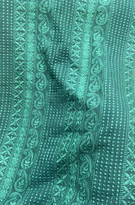 Blue Embroidered Chikankari Georgette Fabric ( 1 Mtr  )