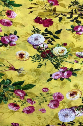 Yellow Digital Printed Pure Linen Floral Design Fabric (2.5 mtrs) - Luxurionworld