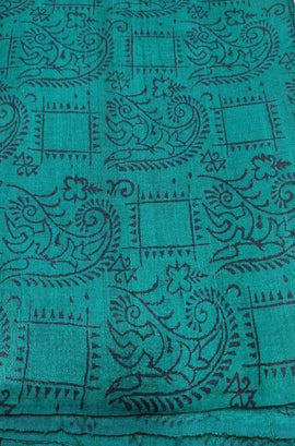 Blue Block Printed Pure Tussar Silk Fabric ( 1 Mtr )