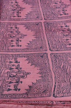 Pink Block Printed Pure Tussar Silk Fabric ( 1 Mtr )