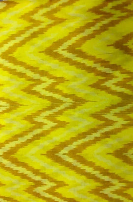Yellow Handloom Ikat Silk Cotton Fabric (2.5 mtrs) - Luxurionworld
